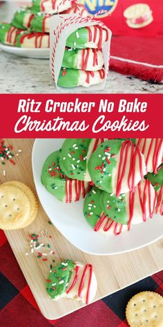 Ritz Cracker No Bake Christmas Cookies! These are the most simple No Bake Cookies for Christmas! So easy and DELICIOUS! You wont be able to stop eating this treat and its perfect for a crowd! One of my favorite Christmas Cookie Recipes and holiday treats! Christmas Desserts Easy, Best Christmas Cookies, Thanksgiving Treats, Christmas Snacks, Holiday Cookies, Holiday Treats, Holiday Recipes, Christmas Cookie Recipes, Christmas No Bake Treats