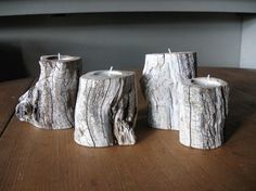 As natural as it gets: if you are looking to use as many natural materials on your wedding table as possible, you might want to start with these really cute tree stump candle holders. They are fairly easy to make, if you are used to working with wood. Tree Stump Table, Tree Stumps, Boho Beach Wedding, Candle Making, Wedding Events, Weddings, Lodge Wedding, Pillar Candles, Tricks