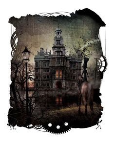 From the tale 'The Fall of the House of Usher' by Edgar Allen Poe as illustrated by Zdenko Basic and Manuel Sumberac in Steampunk Poe. Steampunk Illustration, Illustration Art, Illustrations, Edgar Allen Poe, Edgar Allan, Gothic Photography, Haunted Dolls, Interesting Buildings, Dieselpunk