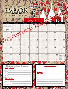 Printable YW Presidency 2015 Calendar Planner Embark in the Service of God Monthly January through December 2015 Cherry Blossom Theme etsy.com/shop/TempleSquares