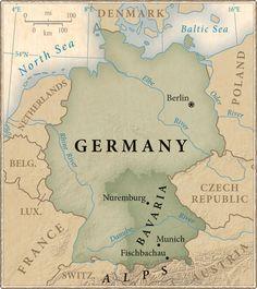 Deutschland Karte - Bayern und Muenchin