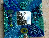 Turquoise Peacock-- Inspired Beaded Mirror
