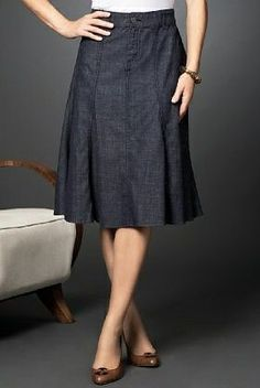 Perfect length for this kind of skirt. Would love a jean skirt like this.