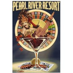 Tunica, Mississippi - Casino Pinup Girl: Retro Travel Poster by Eazl Cling, Size: 12 x 18, Multicolor