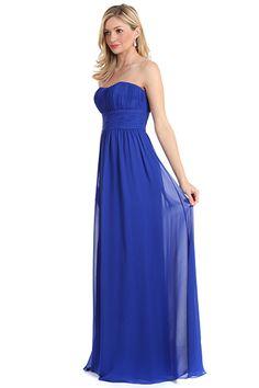 Natural Waist Long Chiffon Bridesmaids Dress
