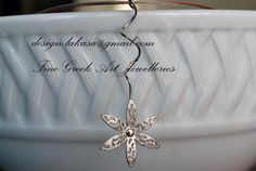 Flower Necklace Sterling Silver White by LakasaEshopDesign on Etsy