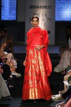 Lehenga - Sanjay Garg - Crimson Red mashru silk lehenga with blouse and dupatta - Amazon India Fashion Week Spring-Summer 2016