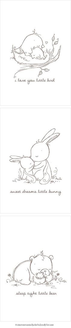 Baby Animal Sketches Great for greeting cards or other creative projects!: