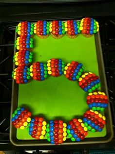 Made out of cupcakes topped with plain M&M's!