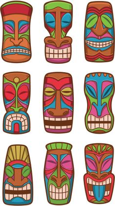 Illustration about Hawaiian tiki god statue carved polynesian tikki ku lono wood set illustration. Illustration of mask, revival, statues - tiki god classic carved wood statues set of icon illustrations - buy this vector on Shutterst Aloha Party, Luau Theme Party, Hawaiian Party Decorations, Hawaiian Luau Party, Hawaiian Tiki, Moana Birthday Party, Hawaiian Birthday, Moana Party, Luau Birthday