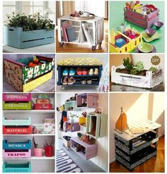 Some ideas to use wood boxes Pallet Projects, Diy Projects, Diy Casa, Diy Box, Diy Arts And Crafts, Recycled Crafts, Wood Boxes, Interior Decorating, Sweet Home