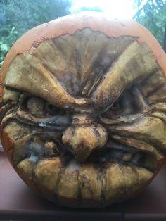 By Nicky Heard Pumpkin Carving, Art Work, Skull, Artwork, Work Of Art, Pumpkin Carvings, Skulls, Sugar Skull