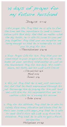 14 Days of Prayer for your husband or future husband