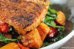 Cumin Scented Pan Seared Salmon with Balsamic Roasted Vegetables. Love this, and easy.. #salmonrecipes #healthydinners