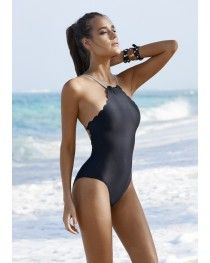 7215aaac65bce 2016 PilyQ Swimwear Reversible Seamless Wave One Piece Black One Piece  Swimsuit, Scalloped One Piece