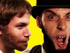 """Abe Lincoln VS Chuck Norris Epic Rap Battles of History #3.  Chuck, """"I split the Union with a Roundhouse Kick.""""  Word."""