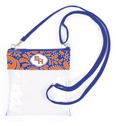 Clear Gameday Crossbody. Our new Clear crossbody not only allows you easy clearance into the stadium, but keeps your hands free to cheer on your team! Plenty of room for your gameday essentials, features adjustable strap, zipper closure and full color rib. #clearbag #stadiumtote #desden