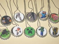 minecraft lot of 10 bottlecap birthday party favors ball chain necklaces