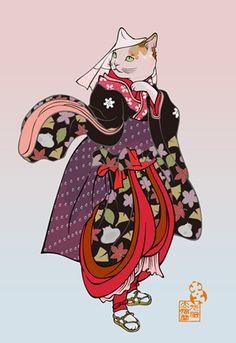 ざらこ道中 Japanese Illustration, Illustration Art, Oriental, Canadian Cat, Gato Animal, Strongest Animal, Japanese Cat, Japanese Tattoo Art, Kawaii