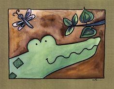 Serena Bowman Here's Looking at You – Aligator - Top Trends Alligator Crafts, Mummy Dogs, Craft Day, Trends, Handmade Felt, Got Print, Beach Art, Custom Framing, Fabric Crafts