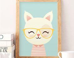 Cute cat print, Cat wall art, Animals print, Safari wall decor, Cute animals, Nursery wall art, Nursery decor, Wall art, Art for kids, Cat