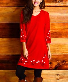 Loving this Red Embroidered Floral Shirt Tunic on #zulily! #zulilyfinds