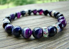 Purple Stretch Bracelet Dark Purple Line Agate by BeJeweledByCandi, $32.00
