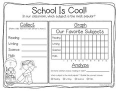 """Sample page from """"DATA DAZE: COLLECTING, GRAPHING, AND ANALYZING DATA {GRADES 1-2}"""" - 23 pages, $ TeachersPayTeachers.com"""