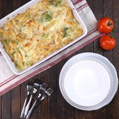 This bubbling casserole combines two beloved Italian dishes, chicken Alfredo and baked ziti, into one creamy dish that we know will become a family classic.