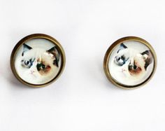Meme Collection Earrings - Grumpy Cat Earrings - 9 Gags Funny Cats Stud Earrings - Pet Accessories - Grumpycat