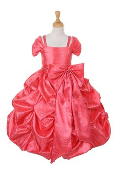 Description: Elegant embroidered taffeta pick up long dress with spaghetti zipper back closure for fitted look Comes in assorted colors Zipper closure Fabric: Coral Flower Girl Dresses, Little Girl Pageant Dresses, Princess Flower Girl Dresses, Dresses For Less, Special Dresses, Dresses With Sleeves, Cap Sleeves, Pretty Pink Princess, Princess Style
