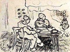 """""""Interior of a Farm with Two Figures"""".....Vincent van Gogh Drawing, Pencil Saint-Rémy: March - April, 1890......Van Gogh Museum Amsterdam, The Netherlands, Europe."""
