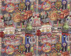 Imprimé sur lin, ce motif, créé par Laurence MOSNERON DUPIN, retranscrit le foisonnement d'un marché local avec des tissus, des vêtements, des bijoux en argent.