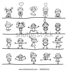 hand drawing cartoon concept happy kids playing