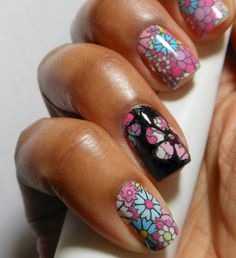 cool stamping over nail art strips