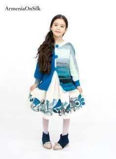 Blue hand knitted jacket and linen dress. Hand by ArmeniaOnSilk