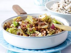 Gebratener Chinakohl mit Beefsteakhack Rezept | LECKER Asian Vegetables, Potato Salad, Cabbage, Curry, Paleo, Low Carb, Good Food, Healthy Recipes, Healthy Food