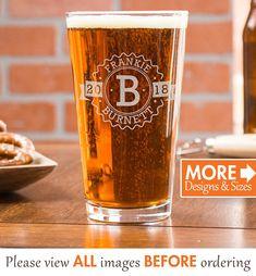 Custom Beer Glass, Personalized Pint Glasses, Retirement Gift, Beer Glass, Monogram Beer Glass, Etched Beer Glass, Groomsmen Gift