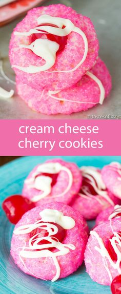 cream cheese cookies / cherry cookies / valentine's day cookies / cookie recipe / pink / maraschino cherries / sugar cookies / dessert via @tastesoflizzyt