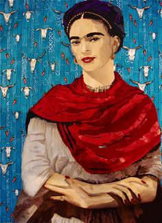 Pam Holland's, Frida quilt in progress but I think she looks great now!