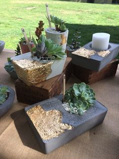 projects with cement Gold leaf on concrete . - Gold leaf on concrete . Concrete Bowl, Concrete Art, Concrete Garden, Concrete Light, Gravel Garden, Garden Planters, Succulents Garden, Cement Art, Concrete Planters
