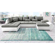 Canapé XL panoramique, imitation cuir/tissu + méridienne fixe droite/gauche…