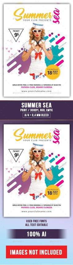 Summer Sea Flyer Template AI