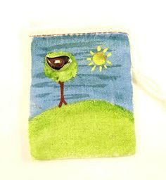 Handpainted Bird Button Gift Bag  SMALL Muslin by buttonsbyrobin