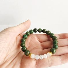 Patience with Yourself ~ African Jade & Moonstone Bracelet - A Peace of Mind Jewelry & Boutique