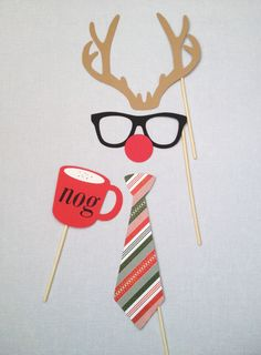Office Reindeer 4pc Photo Booth Props - Christmas Photo Booth Props - Holiday