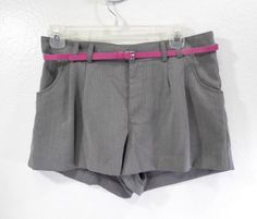 WOMEN-H-M-DIVIDED-PLEATED-SHORTS-SIZE-6-W-PINK-BELT-NWT