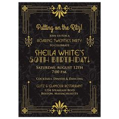 Black and gold roaring 20s (roaring twenties) art deco style 50th birthday invitation. This gold and black theme birthday invitation features an art deco style of frame on a damask background. Perfect for a roaring 20s flapper girl theme speakeasy party. The roaring 1920s was the time of gangsters, prohibition, speakeasy clubs, and flapper girls. A time of wealth, prosperity and glamour. 50th Birthday Invitations, Engagement Party Invitations, Graduation Invitations, Roaring Twenties Party, Roaring 20s Wedding, Speakeasy Wedding, 1920s Wedding Decor, Vintage Weddings, Wedding Vintage