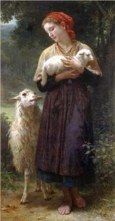 Un pastorcico solo está penado, ajeno de placer y de contento, y en su pastora puesto el pensamiento, y el pecho del amor muy lastimado. San Juan de la cruz The Shepherdess - William-Adolphe Bouguereau