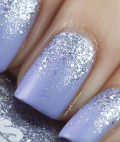 lavender nail polish, glitter gradient nails with silver glitter